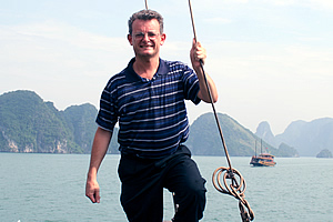 Walkabout Jeff on a junk at Halong Bay